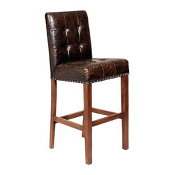 Kathy Kuo Home - Bellagio Man's Room Top Grain Distressed Leather Bar Stool - Sidle this stool up to the bar and pour yourself a tall one. Upholstered in rustic brown leather and tailored with tacks, there's just something entirely inviting about this clubroom-style seat. It's perfect for your home bar or even around the kitchen island.