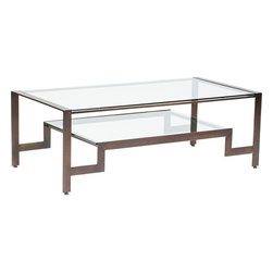 Dunhill Coffee Table - The Dunhill Collection features geometric shaped frame and attractive glass surfaces.