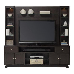 """Hooker Furniture - Kendrick Three Piece Entertainment Group - White glove, in-home delivery included!  Furniture assembly included!  Design, function, work space and organization are uppermost considerations in the Kendrick Collection.  The Kendrick Three Piece Entertainment Group is crafted from rubberwood solids and oak veneers.  It consistents of the Kendrick entertainment console, back panel with glass shelf, and two side hutches.  Entertainment Console - Two drawers with removable CD/DVD dividers, center channel speaker area, two sets of doors with one adjustable shelf behind each set, one open center area with one adjustable glass shelf, one three plug electrical outlet.  Center panel speaker opening: 35 7/8"""" w x 18 3/4"""" d x 7"""" h  Back Panel - One glass shelf.  Shelf height: 39 1/4"""" h  Side Hutches - Three adjustable glass shelves on each side, one light on each side controlled by touch switch."""