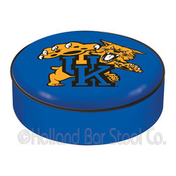 "Holland Bar Stool - Holland Bar Stool BSCUKYCat Kentucky ""Wildcat"" Seat Cover - BSCUKYCat Kentucky ""Wildcat"" Seat Cover belongs to College Collection by Holland Bar Stool This Kentucky ""Wildcat"" bar stool cushion cover is hand-made in the USA by Covers by HBS; using the finest commercial grade vinyl and utilizing a step-by-step screen print process to give you the most detailed logo possible. This cover slips over your existing cushion, held in place by an elastic band. The vinyl cover will fit 14"" diameter x 4"" thick seats. This product is Officially Licensed. Make those old stools new again while supporting your team with the help of Covers by HBS! Seat Cover (1)"