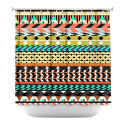 DiaNoche Designs - Shower Curtain Artistic - Desert Aztec Pattern - DiaNoche Designs works with artists from around the world to bring unique, artistic products to decorate all aspects of your home.  Our designer Shower Curtains will be the talk of every guest to visit your bathroom!  Our Shower Curtains have Sewn reinforced holes for curtain rings, Shower Curtain Rings Not Included.  Dye Sublimation printing adheres the ink to the material for long life and durability. Machine Wash upon arrival for maximum softness on cold and dry low.  Printed in USA.