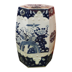 China Furniture and Arts - Bird and Chrysanthemum Porcelain Garden Stool - This simple traditional blue and white porcelain garden stool is graced with hand painted images of birds roosting on a chrysanthemum bed.  Simple yet elegant, this porcelain stool offers sturdy seating and can also serve as a handy platform next to a chair or chaise outdoors.