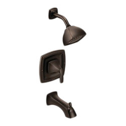 "Moen - Moen T2693ORB Voss Series Posi-Temp Tub/Shower Trim (Oil-Rubbed Bronze) - This tub/shower trim features a single lever handle for precise temperature control, a 7-15/16"" long diverter tub spout, beautifully sculpted style, and a design that was built on the Moen MPact common valve system that allows you to later update your trim style without having to replace any plumbing. It comes with a Moenflo XL single-function shower head for wider water coverage than standard shower heads, and a LifeShine finish that is guaranteed not to corrode, tarnish, or flake off. This model is ADA compliant, and comes in a dramatic, Oil-Rubbed Bronze finish."