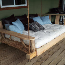 Porch Swing Bed, Full by Rustics and Stones - Enjoy spending lazy afternoons relaxing outdoors with a good book, a cool drink and a treasured nap — if you're lucky. This porch swing bed would be perfect for outdoor reading and napping.