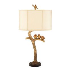 Sterling Industries Three Bird Light - Birds are trendy this year and I can't help but jump on the bandwagon when I find adorable lamps like this. At one time relegated to a dark den, this gold find would shine in a shabby-chic living room, providing just a touch of fall spirit to the space.