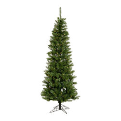 """Vickerman - Salem Pencil Pine 300LED WmWh (7.5' x 36"""") - 7.5' x 36"""" Salem Pencil Pine Tree with 679 PVC tips and 300 Warm White LED Mini Lights. Includes metal hinged branch construction and metal stand Utilizes energy-effiecent, durable LED technology."""