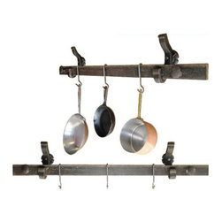Railroadware - Rail Anchor Pot & Pan Rack - Wall Mounted - The Rail Anchor Pot & Pan Rack - (Wall Mounted) is a functional piece of heavy duty railroad hardware with a rustic finish and welcome in to any home or business. It can handle the job with style and old world charm. All RailroadWare Hardware has spent hard time on the Railroad. All hardware is polished and lacquer sealed for a lasting finish.