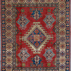"""ALRUG - Handmade Red Oriental Kazak Rug 5' 3"""" x 6' 10"""" (ft) - This Afghan Kazak design rug is hand-knotted with Wool on Cotton."""