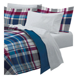 CHF Industries Inc - Varsity Plaid Full Bedding Set 7pc Blue Stripe Bed - FEATURES: