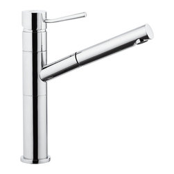 Remer - Single-Lever One-Hole Sink Mixer With Pull-Out Spray Jet - This faucet, part of Remer's Minimall series, is a deck-mount mixer that comes in a shiny chrome finish. It is made in Italy from durable, strong brass and comes with a single lever. This one-hole mixer comes complete with pull-out spray jet and is perfect for your brand new sink. Single-lever, deck mounted faucet. Comes with pull-out spray jet and single lever. Made from chrome-finished brass. Made in Italy by Remer.