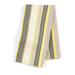 "Purple & Green Modern Stripe Custom Napkin Set - Our Custom Napkins are sure to round out the perfect table setting""""_whether you're looking to liven up the kitchen or wow your next dinner party. We love it in this red, orange, yellow & taupe multi stripe that feels modern with a need for speed."