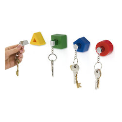 j-me Original Design - Bring back childhood memories with this set of four shaped key holders & key rings - Triangle, Square, Circle and Pentagon. Each key holder has a matching key ring that holds your keys securely in place. The Shapes Key Holders are perfect for families! Each key holder is individually wall-mounted so you can display them as a set or in different rooms around the house.