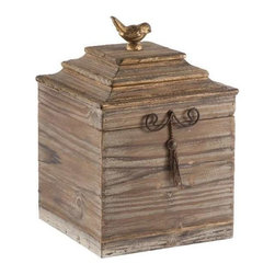 """Aidan Gray - Voler Box Tall by Aidan Gray - The Voler box by Aidan gray is a particularly attractive addition for a shelf, table or desk. The striated pine wood has a hint of gold which handsomely coordinates with an iron tassel and gold bird perched on the top. (AG) 12.5"""" High x 9"""" Wide x 9"""" Deep"""