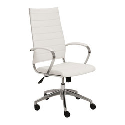 """Eurostyle - Eurostyle Axel High Back Office Chair in White & Aluminum - High Back Office Chair in White & Aluminum belongs to Axel Collection by Eurostyle It has a leatherette seat with the back of the seat over foam it has a chromed steel frame with an aluminum base. Feature Leatherette seat and back over foam. Chromed steel frame aluminum base. PU casters with stainless steel hoods. Locking tilt mechanism. Requires assembly. Include 1 office chair Dimension 23""""W x 25.5""""L x 46.5""""H Office Chair (1)"""