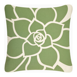 Wabisabi Green - Bloom Eco Pillow, Olive/Cream, 18x18, Without Insert - Vibrant petals bloom radiantly out across this throw pillow in a bold, uplifting modern design. Hand-printed with ecofriendly ink onto recycled polyester/organic cotton blend fabric, this accent pillow celebrates nature in more ways than one. Toss it anywhere to give your room instant warmth.
