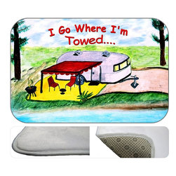"""usa - Camper I Go Where I'm Towed Bath Mat, 20"""" X 15"""" - Bath mats from my original art and designs. Super soft plush fabric with a non skid backing. Eco friendly water base dyes that will not fade or alter the texture of the fabric. Washable 100% polyester and mold resistant. Great for the bath room or anywhere in the home. At 1/2 inch thick our mats are softer and more plush than the typical comfort mats. Your toes will love you."""