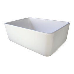 """ALFI brand - Biscuit 23"""" Fireclay Single Bowl  Farmhouse Kitchen Sink - ALFI brand fireclay farm sinks are a throwback to a simpler time. Designed to offer the traditional popular look of an apron farm sink with a contemporary twist. Made of the highest quality solid fireclay to insure it not only looks great but also lasts for a very long time."""