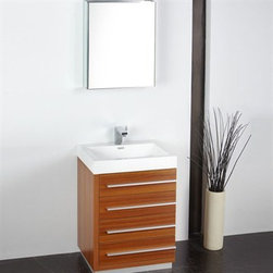 "Fresca - Fresca Livello 24"" Teak Modern Bathroom Vanity with Medicine Cabinet - The Livello 24"" vanity features four pull out drawers that come equipped with slow closing hinges. Its sink is made with a durable acrylic material that is less likely to break then tradition ceramic, it also cleans better. This vanity's minimal design will make your bathroom feel like a modern oasis. Many faucet styles to choose from. Optional side cabinets are available. Features MDF/Veneer with Acrylic Countertop/Sink with Overflow Soft Closing Drawers Single Hole Faucet Mount (Faucet Shown In Picture May No Longer Be Available So Please Check Compatible Faucet List) P-trap, Faucet/Pop-Up Drain and Installation Hardware Included How to handle your counter Installation GuideView Spec Sheet"