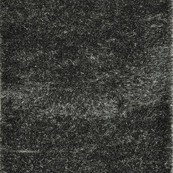 """Loloi - Loloi Vida Shag VS-01 (Charcoal) 5' x 7'6"""" Rug - The handmade Vida Shag Collection from India features a sophisticated take on the hip shag construction. Vida Shags are handmade of 100-percent polyester with a choice of five luxurious trend-right colors: shimmery silver, smoky charcoal, soft taupe, rich plum and clean ivory."""