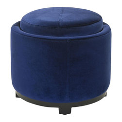 Safavieh - Chelsea Round Tray Ottoman - Royal Blue - Inspired by chic boutique-style furnishings, the Chelsea Round Tray Ottoman is a sweet addition to any room. Its black birch wood detailing and chic royal blue velour upholstery conceal the functional elements of this petit princess. Extra seating, storage and a precious tray for serving cocktails after the sun goes down make Chelsea your new best friend.
