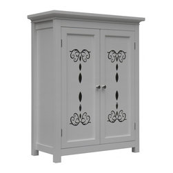 Elegant Home Fashions - Dallia Floor Cabinet with 2 Doors - The Dallia Floor Cabinet from Elegant Home Fashions featues a white finish and offers sleek lines for a modern look.   This cabinet features two doors accented with beautiful cut-out floral design and beveled molding. This unit offers plenty of storage space two adjustable interior shelves makes it easy to store items of different heights.  Satin nickel door knobs showcase the modern design.  This cabinet comes with assembly hardware.