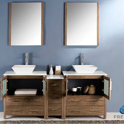 "Torino 72 Walnut Brown Modern Double Sink Bathroom Vanity With Side Cabinet Vess - Fresca is pleased to usher in a new age of customization with the introduction of its Torino line.  The frosted glass panels of the doors balance out the sleek and modern lines of Torino, making it fit perfectly in either ?Town? or ?Country? d?cor.  Available in the rich finishes of Espresso, Glossy White, Light Oak and Walnut Brown, all of the vanities in the Torino line come with either a ceramic vessel bowl or the option of a sleek modern ceramic integrated sink.Dimensions of Vanity:  72""W x 18.13""D x 35.63""H. Dimensions of Mirror:  25.5""W x 31.5""H x 1.25""D. Materials:  Plywood w/ Veneer, Ceramic Sinks. Single Hole Vessel Faucet Mounts (Faucets Shown In Picture May No Longer Be Available So Please Check Compatible Faucet List). P-traps, Faucets, Pop-Up Drains and Installation Hardware Included"