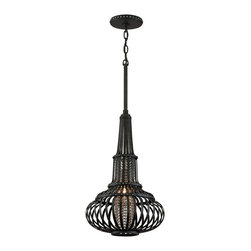 Eden 1-Light Medium Pendant - Whether you want a bold statement for your dining room or a calming presence for your bedroom, look no further than the Moroccan-style pendants from the Eden collection. The forged iron, genie-bottle shaped frame features congruent cutouts, revealing a cylinder of gleaming beaded chains. This combination creates soft bands of light throughout the room.