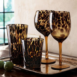 Horchow - Four Tortoise Double Old-Fashioneds - Glowing color and patterns drawn from nature and portrayed in glass add exotic flair to table settings. Shown left to right: Highball holds 19.5 ounces. Double old-fashioned holds 12.5 ounces. Balloon glass holds 17 ounces. Wine goblet holds 14 oun...
