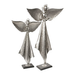 Uttermost - Angels Antique Nickel Sculpture, Set of 2 - What could be better than an angel in the house? Two angels! Made from hand-forged iron, these sculpted seraphs will set the stage for your enchanting holiday celebrations and beyond. Stand these beautiful creatures next to your tree or anywhere lights can really get them glowing.