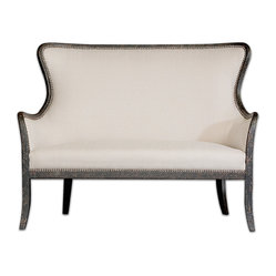 Uttermost - Sandy White Love Seat - Elegant beauty in black and white. This mahogany frame love seat features simply sumptuous upholstery, a weathered finish and brass nailhead accents to make a stylish, comfortable statement in your bedroom or sitting room.