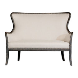 Uttermost - Sandy White Loveseat - Elegant beauty in black and white. This mahogany frame love seat features simply sumptuous upholstery, a weathered finish and brass nailhead accents to make a stylish, comfortable statement in your bedroom or sitting room.