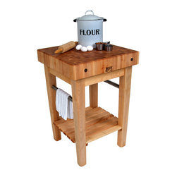 John Boos - John Boos Pro Prep Block  Maple Butcher Block Stand or Cart - John Boos Pro Prep butcher block is 3 feet high and comes in 4 sizes. Maple block is 4 inches thick. Slatted lower shelf. Towel bars. Optional drawer, casters.