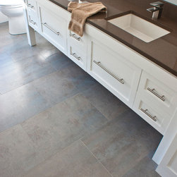Modern Allure - One of the finest collection of Large Format porcelain floor tiles, Porcelanosa's Ferroker series is a homerun every time! A minimalist and soft color palette that screams personality and character.