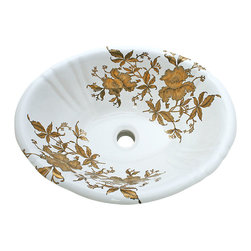 Decorated Porcelain Company - Gold Orchids Hand Painted Sink - Add an elegant and dramatic statement to your bathroom. Matte and shiny metallic gold orchids and leaves, finely edged in black on a white fluted drop-in basin. All of our fixtures are hand-made to order in the USA and kiln-fired for long-lasting durability.