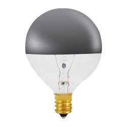 Bulbrite - Half Chrome Globe Light Bulbs - 25 Bulbs (25W - Choose Wattage: 25WOne pack of 25 Bulbs. G16-1/2 incandescent type bulb. E12 base bulb. Portable. Mirrored top reflects light creating soft ambient effect. Perfect for base up overhead fixtures. EISA compliant. Voltage: 120 V. Average hours: 1500. Color rendering index: 100. Beam spread: 360 degree. Color temperature: 2700K. Ideal for outdoor use and residential use in vanity, chandeliers, pendants and down lights. Clear color. Maximum overall length: 2.75 in.