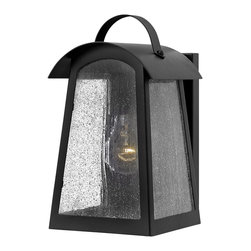 Hinkley Lighting - Hinkley Lighting 2650BK Putney Bridge Outdoor - Putney Bridge is a classic Shaker-inspired style constructed of durable solid aluminum.  The generous panels of dense seedy glass, forged metal roof and classic rivet construction combine with a bold Black finish to complete this authentic design.