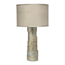 Jamie Young Company - Stacked Silver One-Light Table Lamp with Medium Drum Shade - - Our stacked lamp collection is sculptural and organic in in feel but is also incredibly elegant. These lamps come in table and floor versions in faux horn a silver hand-lacquered splash finish and a gold-hand lacquered hand finish. The shade is made with 100% dupioni silk in very light blue-taupe color (ice blue)  - Shade Material: Silk  - Bulb is not included  - Lamp shade made in USA  - One year warranty Jamie Young Company - 1STAC-TLSI-2DRUM-32MD