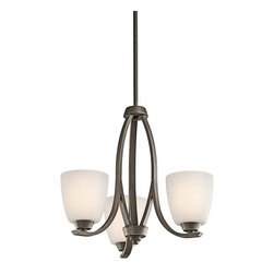 KICHLER - KICHLER Granby Transitional 3-Light Chandelier X-ZO65524 - An Olde Bronze finish accentuates the elegant fluid lines of this Kichler Lighting chandelier. From the Granby Collection, the three satin etched opal glass shades add to the contemporary styling for a look that is clean but casual and perfect for a variety of spaces.