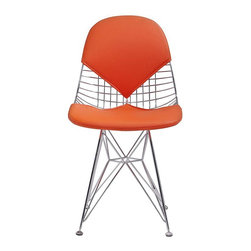 Meelano - M245 Chair in Gold and White, Orange - Dazzle your friends and make the rest of your house jealous with this eye-catching chair. Crafted with organic spokes, you will lounge in complete comfort. Its padded backrest and seat is a modernist dream come true.