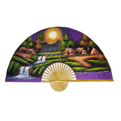 """Oriental-Decor - Purple Moon, 60"""" Width Oriental Wall Fan - The moon (which symbolizes yin in Oriental culture) is set low in the sky as it shines brightly over this enchanted village, casting a glorious light over the inhabitants. The purple sky and splendid shades of green are perfect for creating a state of relaxation and tranquility."""