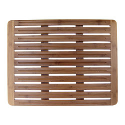 None - Natural Bamboo 20 x 26 Wood Nonskid Bath Mat - This luxurious bamboo bath mat with a waterproof surface ensures efficient water and air circulation. The nonskid feature provides stability and safety.