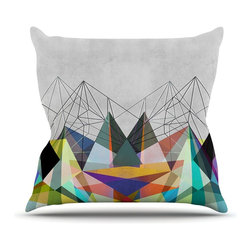 """Kess InHouse - Mareike Boehmer """"Colorflash 3X"""" Grey Rainbow Throw Pillow (Outdoor, 16"""" x 16"""") - Decorate your backyard, patio or even take it on a picnic with the Kess Inhouse outdoor throw pillow! Complete your backyard by adding unique artwork, patterns, illustrations and colors! Be the envy of your neighbors and friends with this long lasting outdoor artistic and innovative pillow. These pillows are printed on both sides for added pizzazz!"""