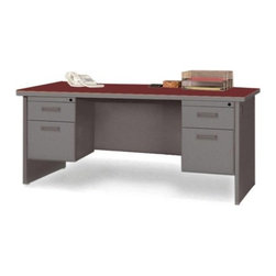 Lorell - Durable Double Pedestal Writing Desk Computer Writing Desk with Radius Edges - Office furniture is made of steel with a powder-coated textured finish for easy care. Durable laminate tops feature radius edges. Drawers and flipper doors glide on steel ball-bearings. Desk and credenza tops include 2'' grommets. Use the two grommets in each leg for cable connections between desks. Open shelves include wire channeling to desktop. Modular desking is Greenguard Indoor Air Quality Certified. Features: -Cherry Steel Laminate - Top.-Charcoal.-Grommet.-Lockable Drawer.-Double Pedestal Desk.-Ball-bearing Suspension.-Modesty Panel.-Leveling Glide.-Cord Management.-Durable.-Distressed: No.-Collection: Durable Desk Ensembles.-Country of Manufacture: United States.Dimensions: -Dimensions: 72'' Depth x 36'' Width.-Overall Product Weight: 301 lbs.