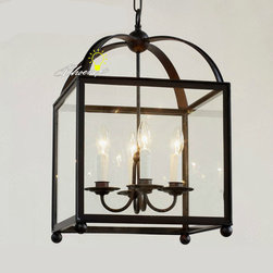 Antique Square Iron and Clear Glass Shape pendant Lighting in Matte Finish -