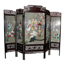 Hand embroidered Screen - Imported from China - Dimensions 115.0ʺW × 1.5ʺD × 91.0ʺH