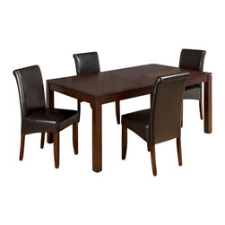 Jofran - Jofran 888 Carlsbad 5-Piece Rectangular Dining Room Set - Combining traditional details with modern designs, Jofran has a collection to compliment any home decor. This Carlsbad 5 Piece dining Room Set with chestnut chairs belongs to 888 Series - Carlsbad cherry collection by Jofran Inc. The classic formulas of color combinations are not valid in Jofran Furniture territory: here is ruled by laws solely of your own preferences and fantasies. Huge selection of colors in combination with a wide choice of shapes and sizes allow you to find among this variety precisely the furniture you've always wanted to see in your home. Jofran Furniture offers high quality, casual furniture pieces that are constructed from premium Asian hardwoods, and finished with beautiful veneers. Durable materials and quality assembly will help your furniture to serve for many years and will not let you be disappointed in your choice.
