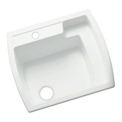 """STERLING PLUMBING - STERLING Latitude(R) Utility Sink, 25"""" x 22"""" x 12"""" - Made of solid Vikrell(R) material, the durable, easy to install Latitude utility sink offers subtle, contemporary style.The unique quarter-deck design provides shelf space for storage and cleaning, and adds to the overall modern appeal."""