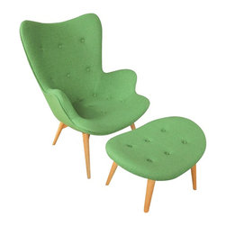 Fine Mod Imports - Grant Featherston Style Mid-century Modern Contour Lounge Chair and Ottoman Gree - The Featherston Lounge Set is perfect as an occasional or lounge chair, the set was a significant departure from the lackluster furniture typical of post war Australia however continues to remain a contemporary, chic selection for all commercial, hospitality and residential interiors.