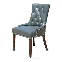 ARTeFAC - 2 - Accent Tufted Leather Dining Chair with Silver Nail head, Grey - 2 - Accent Tufted Leather Dining Chair in Grey with Silver Nail head