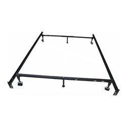 Khome - Khome 6-Leg Super Duty Adjustable Metal Bed Frame (Queen/Full/Full XL/Twin/Twin - 6-Legs Super Duty More Firmer, Adjustable Metal Bed Frame With Rug Rollers & Locking Wheels.